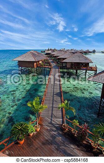 île tropicale, fait, homme, recours - csp5884168