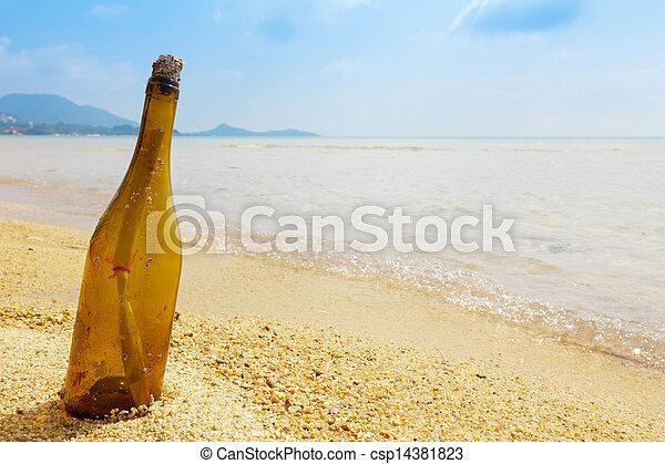 île tropicale, message, bouteille - csp14381823