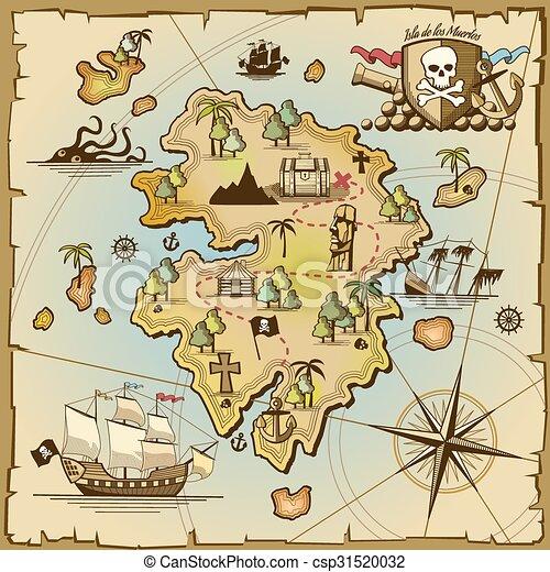 Carte Au Tresor Pirate.Ile Vecteur Pirate Carte Tresor