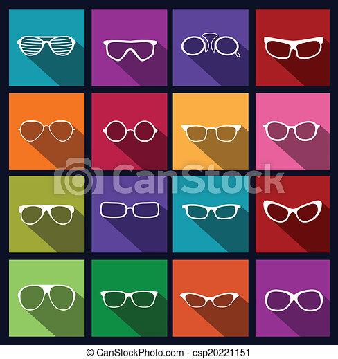 óculos de sol, coloridos, ícones - csp20221151