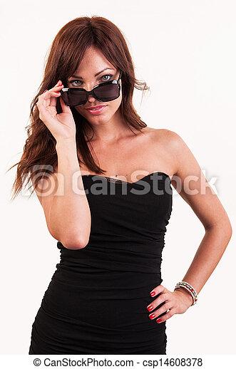 óculos de sol, excitado, mulher, posar - csp14608378