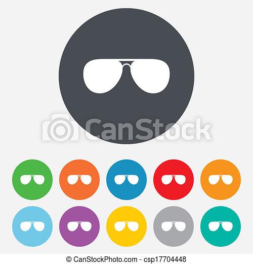 óculos de sol, glasses., sinal, icon., aviador, piloto - csp17704448