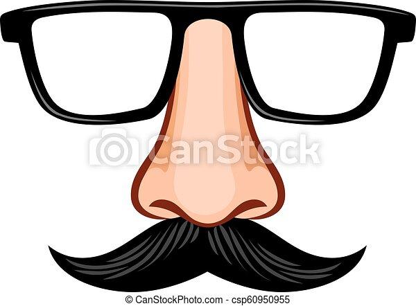 óculos, máscara, nariz, bigode, fraude - csp60950955