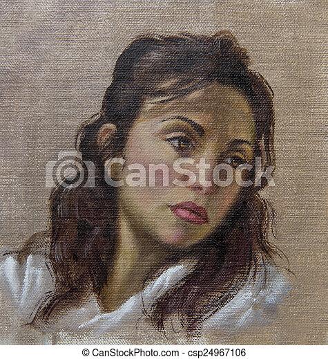 óleo cabelo, dela, jovem, baixo, retrato mulher - csp24967106
