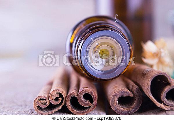óleo, essencial, canela - csp19393878