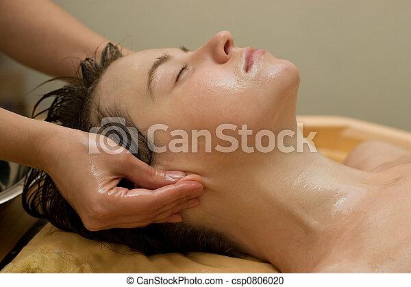 óleo massagem, ayurvedic, procedimento - csp0806020