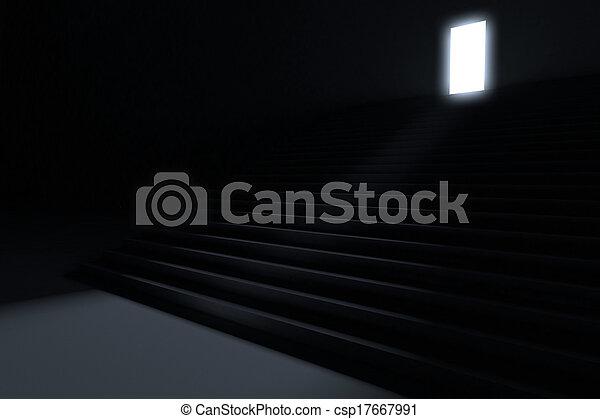 ólmozás, lépések, sötétség, fény - csp17667991