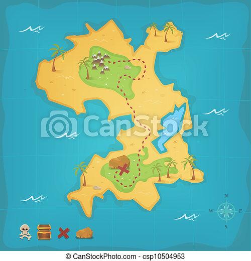 ö karta Ö, skatt, piratkopiera kartlägger. Skalle ö, skatt, kors  ö karta