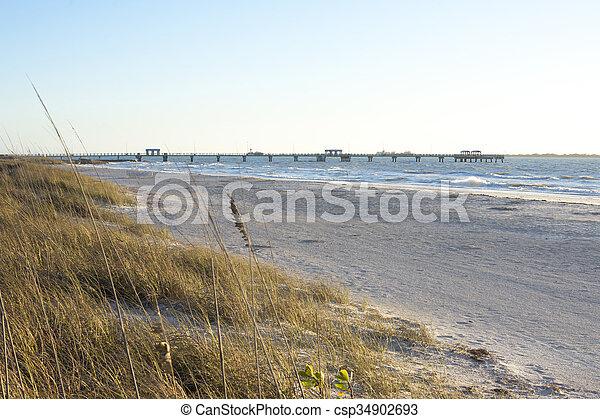öböl, tengerpart, halászat, desoto, móló, erőd - csp34902693