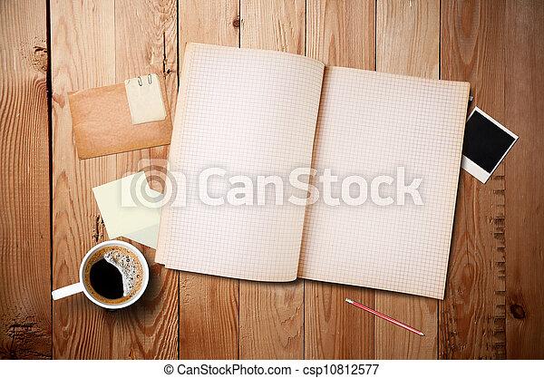 ögonblick, anteckning tidning, workspace, gammal, trä, kopp, bord, foto, kaffe, anteckningsbok - csp10812577