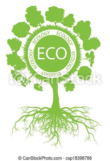 ökologie, baum, umwelt, vektor, grüner hintergrund, wurzeln - csp18398786