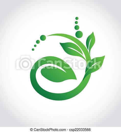 ökologie, pflanze, ikone, logo, gesunde - csp22033566