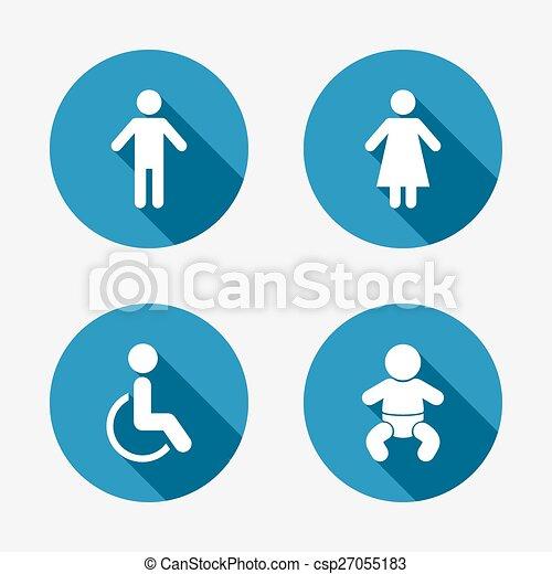 öltözék, vécé, női, icons., emberi, hím, vagy, signs. - csp27055183