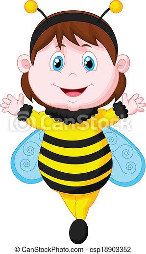 öltözött, kicsi lány, karikatúra, méh - csp18903352