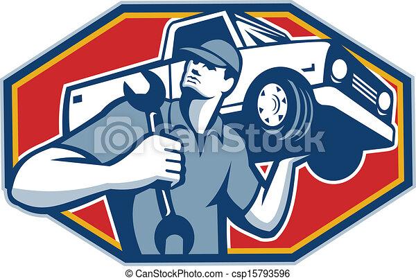 önmagától mozgó, autó, retro, szerelő, rendbehozás - csp15793596