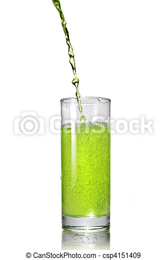 öntés, pohár, elszigetelt, lé, zöld white - csp4151409