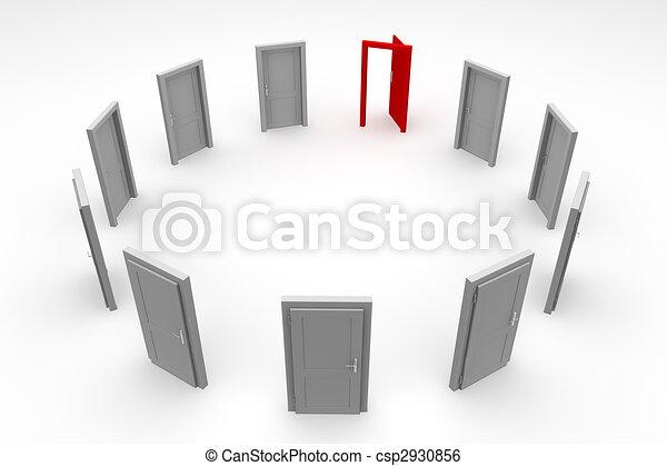 öppen dörr, cirkel, -, röd - csp2930856