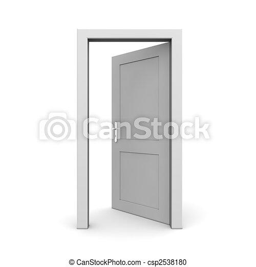 öppna, singel, dörr, grå - csp2538180