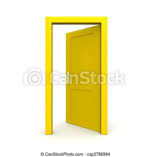 öppna, singel, dörr, gul - csp3786994