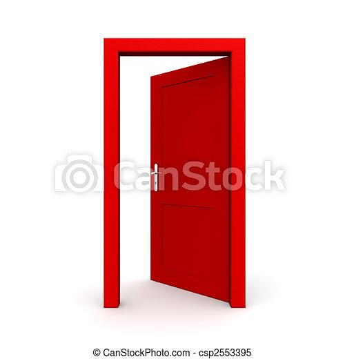 öppna, singel, dörr, röd - csp2553395