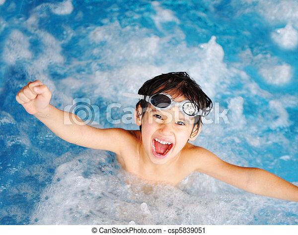 öröm, gyerekek, boldogság, pocsolya - csp5839051