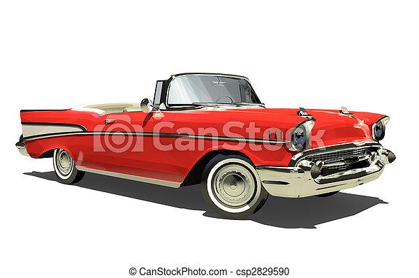öreg, convertible., autó, elszigetelt, top., háttér., render., fehér, nyílik, 3d., piros - csp2829590