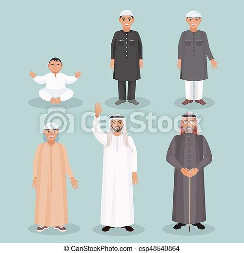öreg, férfiak, személy, arab, nemzedék, kölyök - csp48540864
