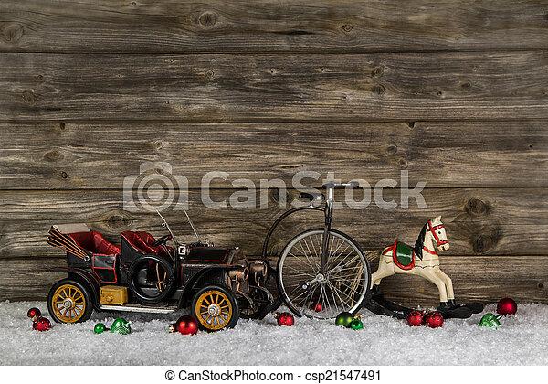 öreg, -, gyerekek, dekoráció, hor, autó, apró, vintage:, karácsony - csp21547491