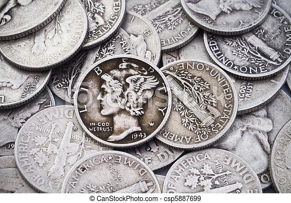öreg, &, lakás, cölöp, ezüst, tízcentes - csp5887699