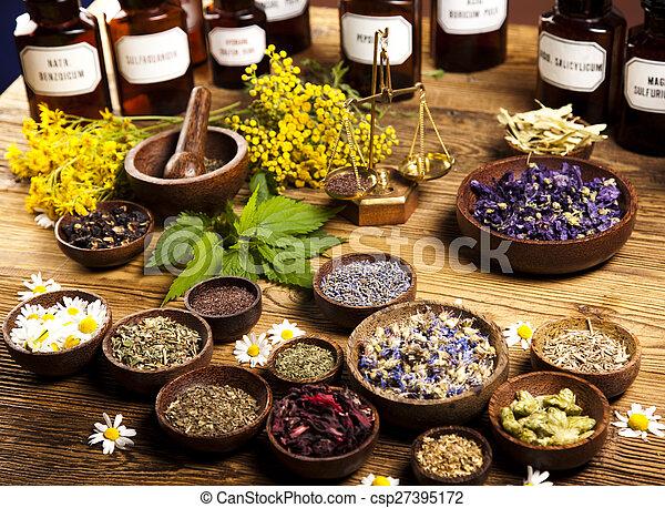 örtar, alternativ medicin, torkat - csp27395172