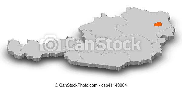 3d Karte Osterreich.Osterreichkarte 3d Illustration Wien