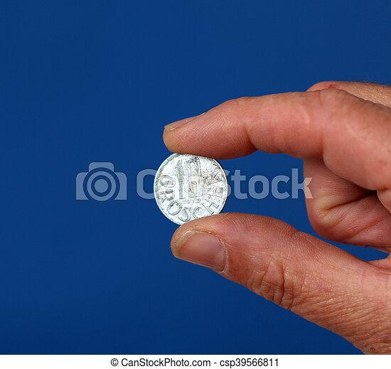 österrike, mynt, gammal, fingrar, hålla - csp39566811