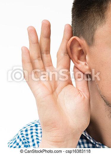 övé, fog, kéz, valami, kihallgatás, fül, ember - csp16383118