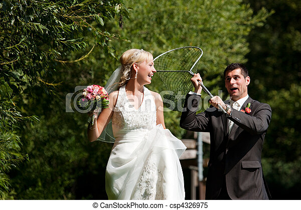 övé, lovász, -, menyasszony, fertőző, esküvő, háló, bemárt - csp4326975