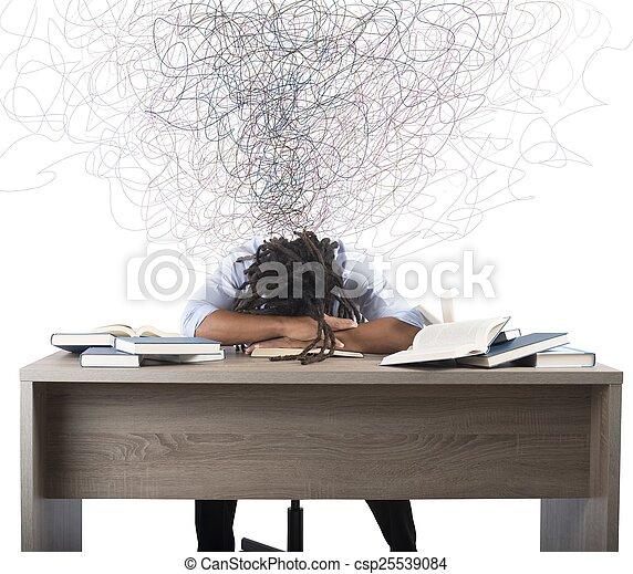 över, böcker, man, drömma - csp25539084
