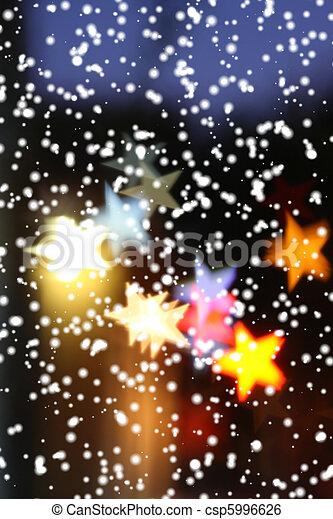 över, highlights., snö, suddig fond, stjärnfall, helgdag, star-shaped - csp5996626