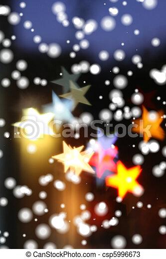 över, highlights., snö, suddig fond, stjärnfall, helgdag, star-shaped - csp5996673