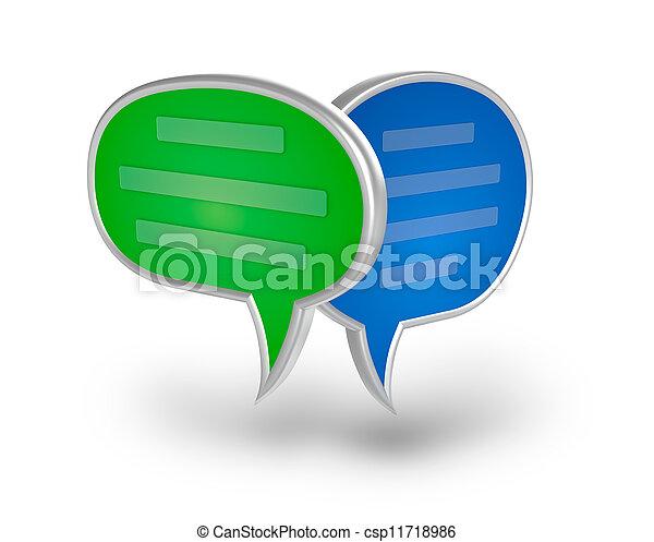 över, pratstund, vit, 3, bubbla, ikon - csp11718986