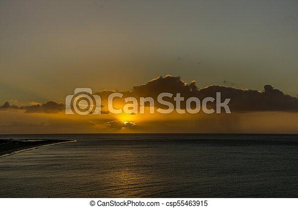över, regna, ocean, mörk, atlanten, soluppgång, moln - csp55463915