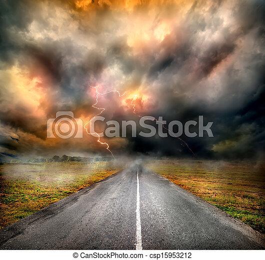 över, skyn, motorväg, oväder, blixt - csp15953212