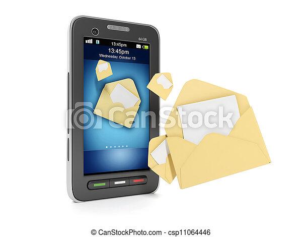 överföring, begrepp, illustration:, mobil, sms, meddelanden, ringa, tehnoogii., din, 3 - csp11064446