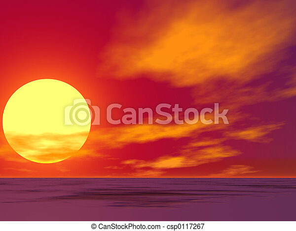 ørken, solopgang, rød - csp0117267