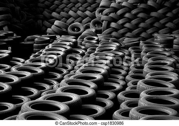 újra felhasznált, helyzet, újrafelhasználás, cölöp, tires. - csp1830986