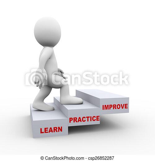 üben, 3d, schritte, lernen, verbessern, mann - csp26852287