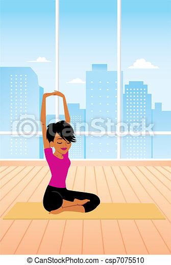 üben, frau, joga, sitzen - csp7075510