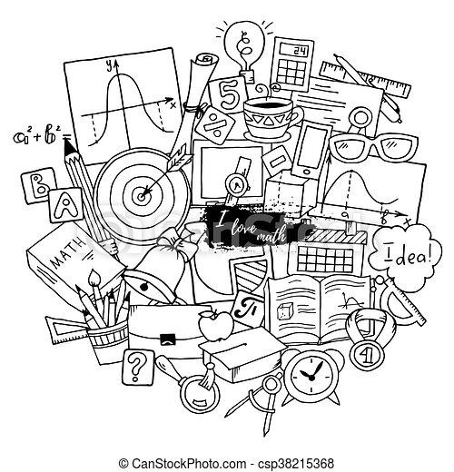 über Muster Schule Theme Hand Gekritzel Lernen Mathematik