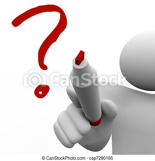 Der Mann zeichnet Fragezeichen an Bord, um nach Problemen zu fragen - csp7290165