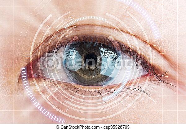 überfliegen, nahaufnahme, auge, kontakt, schutz, lens., zukunft, grauer star - csp35328793