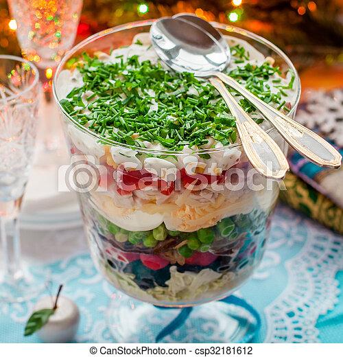 Salat Weihnachten.überlagert Weihnachten Salat