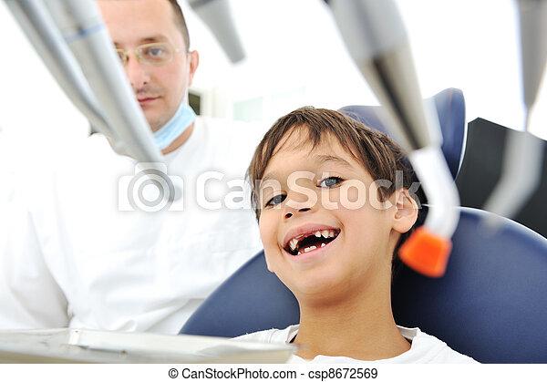 überprüfung, zahnarztes, z�hne - csp8672569